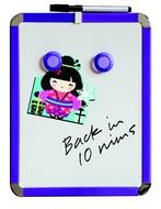 A4 Tableau blanc magnétique 21 x 28 cm. Bleu. Comprend de marqueur de tableau blanc et des 2 aimants