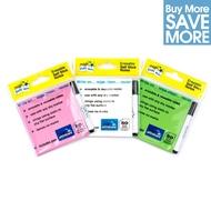 3 Paquet - Paquet Multi - Carnet de mémos autocollants magiques - ROSES, VERT, BLANC - 150 feuilles