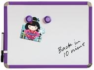 Tableau blanc magnétique Frigo 28 x 36 cm. Violet. Comprend de marqueur de tableau blanc et des 2 aimants