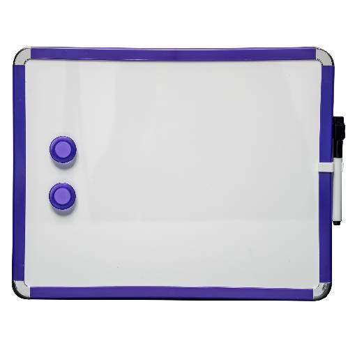 Tableau blanc magnétique Frigo 28 x 36 cm. Bleu. Comprend de marqueur de tableau blanc et des 2 aimants
