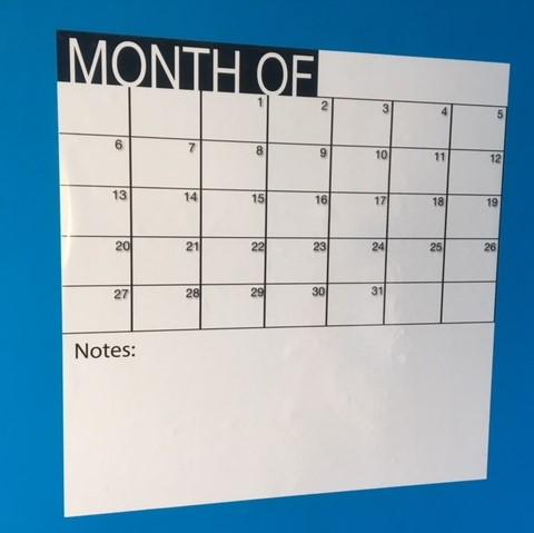 Adhésif mensuel blanc - 50 x 50cm