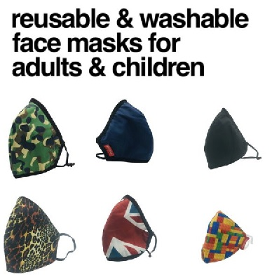 😷 Washable & Reusable Face Masks for Adults & Children